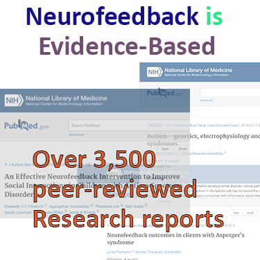 Neurofeedback is evidence based therapy with a wealth of over 3,500 peer-reviewed research reports per PubMed neurofeedback