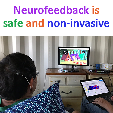 Neurofeedback training is safe and non-invasive shown in a picture using Othmer Method