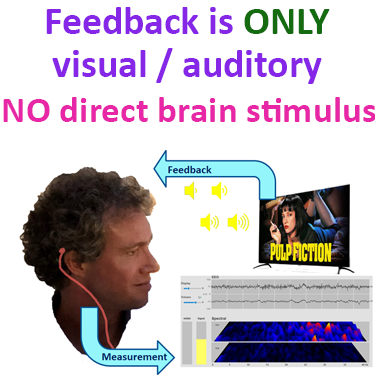 neurofeedback is only visual and auditory feedback and no direct brain stimulation