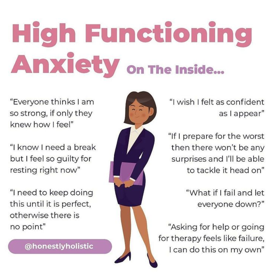 High Functioning on the Inside shows a confident woman who feels very different behind the facade, troubled by self-doubts not visible to others