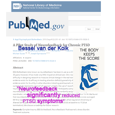 """A study by Bessel van der Kolk (""""The Body Keeps the Score"""") showed that neurofeedback significantly reduced PTSD symptoms"""